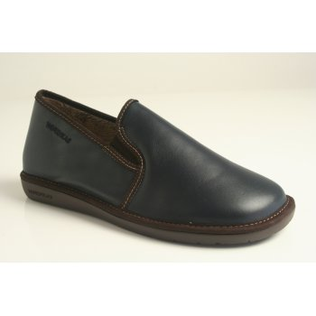 Nordika's Style 663 man's slipper in high grade  navy blue grained leather with indoor/outdoor flexible sole (NT20)