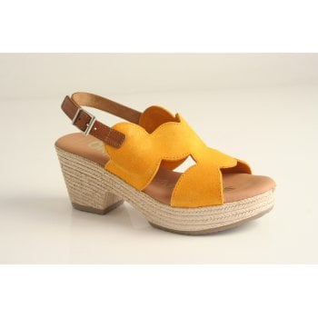 Oh! My Sandals Oh! My Sandal Mustard Suede, heeled, Sling Back Sandal (NT7)