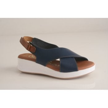 Oh! My Sandals Oh! My Sandal Navy leather sling back sandal (NT6)