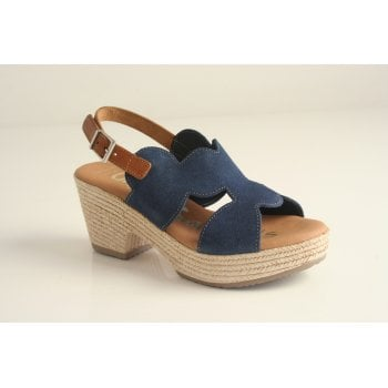 Oh! My Sandals Oh! My Sandal Navy Suede, heeled, Sling Back Sandal (NT4)