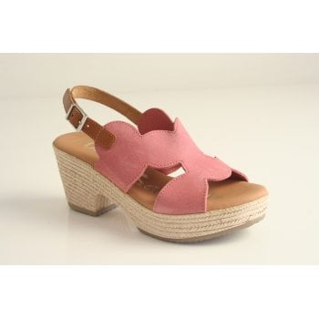 Oh! My Sandals Oh! My Sandal Pink Suede, heeled, Sling Back Sandal (NT3)