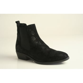 Paula Urban black sheen nubuck leather ankle boot