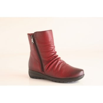 Paula Urban dark red Leather Ankle Boot (NTB8)