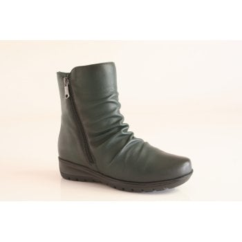 Paula Urban Green Leather Ankle Boot NKB5)