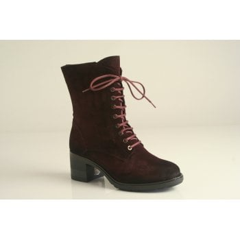 Paula Urban vino suede leather lace-up heeled boot (NT9)