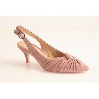 Perlato blush pink suede leather sling-back   (NT22)