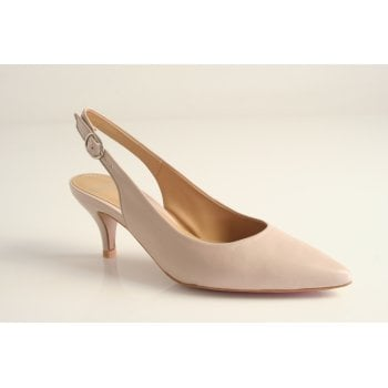 Perlato Perlato, classic kitten heeled,  sling back nude leather court shoe. (NT29)