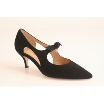 Perlato kitten heeled black suede court shoe with cut out and bow detail (NT28)