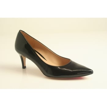 Perlato Perlato kitten heeled classic black patent leather court shoe  (NT11)