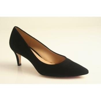 Perlato kitten heeled classic black suede court shoe. (NT19)