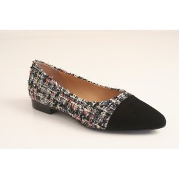 Perlato multi coloured fabric and leather shoe  (NT26)