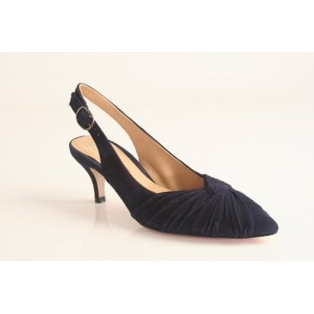 Perlato navy blue suede leather sling-back  (NT20)