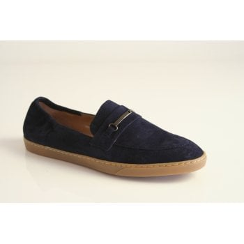Perlato navy blue suede leather slip on loafer    (NT24)