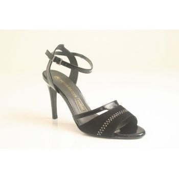 "Peter Kaiser ""Amiga"" in black suede and crakle patent leather  (NT7)"