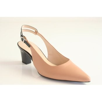 Peter Kaiser ' Jersey' Patent Black and Biscotti Slingback (NT 83)
