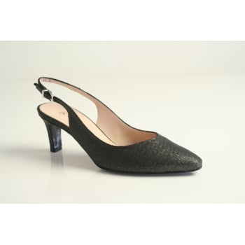 Peter Kaiser 'Medana'  black printed leather sling back shoe.