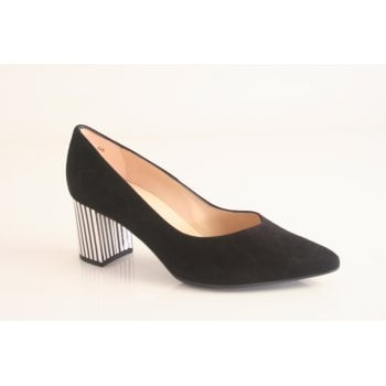 Peter Kaiser 'Naja' Black suede leather court shoe. (NT61)