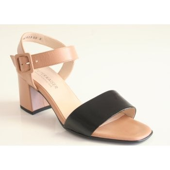 Peter Kaiser 'Peoria' open toe patent Black and Biscotti Leather Sandal (NT 80)