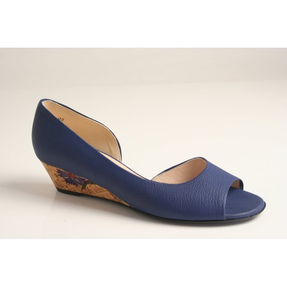 blue peep-toe with floral patterned