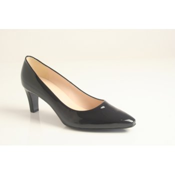"Peter Kaiser style ""Malia"" navy blue patent leather court shoe with leather lining."