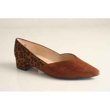 "Peter Kaiser style ""Shade-A"" in tan suede leather with leopard detail (NT72)"
