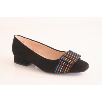 Peter Kaiser 'Zodia' black suede leather court shoe with multi-coloured bow (NT66)