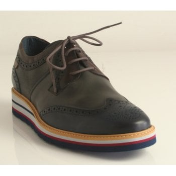 Pikolinos 'Durcal' Calfskin Leather Blue Multi Wedged Lace Up Shoe (NT4)