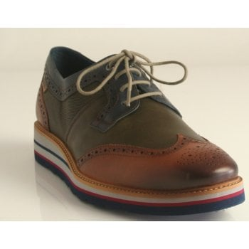 Pikolinos 'Durcal' Calfskin Leather Brandy Wedged Lace Up Shoe (NT2)
