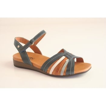 """Pikolinos """"Ibiza"""" style ocean blue leather sandal with ankle strap  (NT15)"""