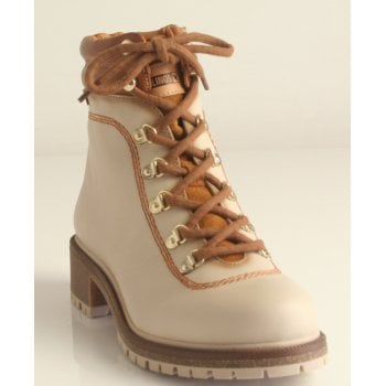 Pikolinos Ladies Marfil/OffWhite Combi Aspe Lace Up Ankle Boot (NT32)