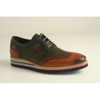 Pikolinos leather brogue in tan and khaki (NT14)