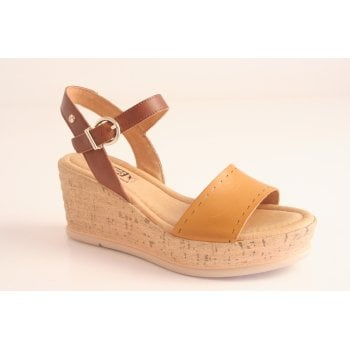 "Pikolinos ""Miranda"" style wedge platform sandal in honey tan leather   (NT25)"