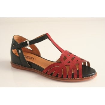 Pikolinos red and black leather sandal (NT9)