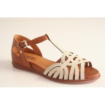 Pikolinos tan and white leather sandal (NT11)