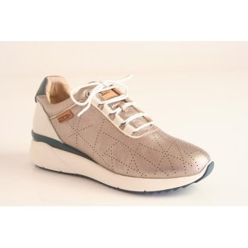 Pikolinos trainer style shoe in stone metalic leather  (NT20)