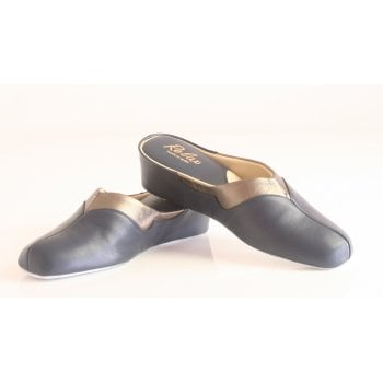 Relax style 3131 Leather slipper in navy (NT6)