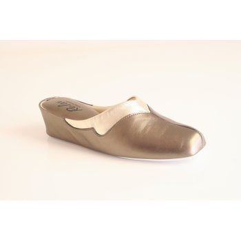 Relax style 3131 Leather slipper in pewter (NT4)