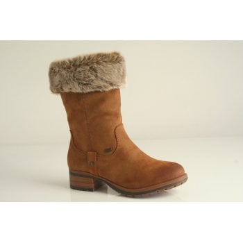 Rieker all-weather boot with zip and faux fur trim in tan (NTSB6)