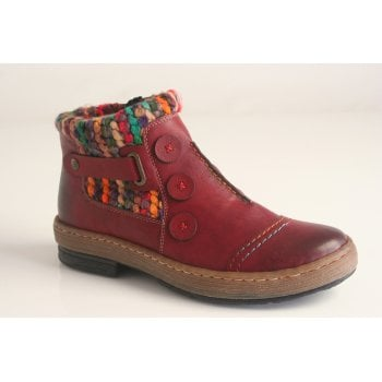Rieker ankle boot with fleece lining and knitted cuff