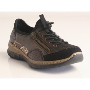 Rieker Antistress Black, Bronze, Crocodile Combi Trainer with adjustable toggle lace (NT104)