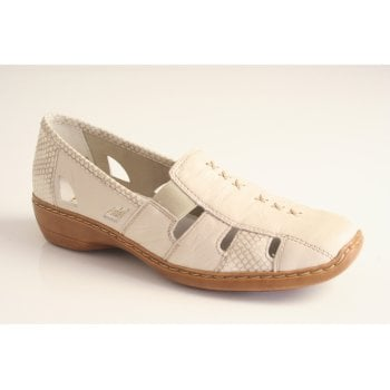 Rieker beige slip on shoe with an Antistress insock