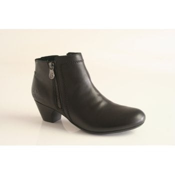 Rieker black leather ankle boot with side zip  (NTB14)