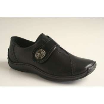 Rieker black leather shoe with an adjustable velcro fastening
