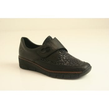 Rieker black leather shoe with velcro fastening