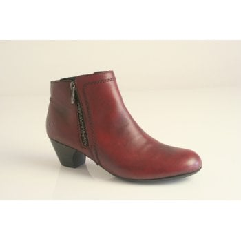 Rieker bordo red leather ankle boot with side zip  (NTB12)