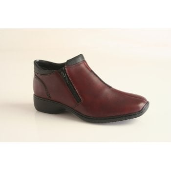 Rieker bordo red leather ankle boot with two zips  (NT59)