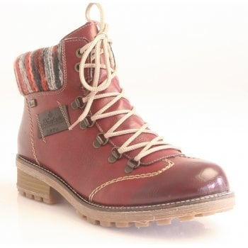 Rieker Eagle Maroon Combi Leather Water Resistant Ankle Boot (NT SB2)