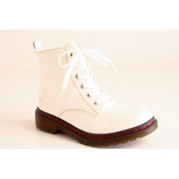 Rieker lace up white patent ankle boot with fleece lining  (NTB11)
