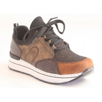Rieker Ladies Black, Bronze Combi Trainers with Chunky Sole (NT 101)