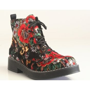Rieker Ladies Black Floral Velour Womens Chunky Ankle Boots (NT SB 1)